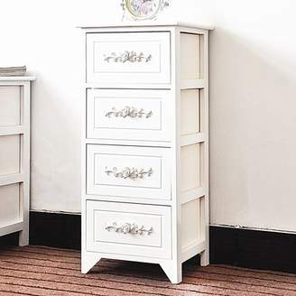 JERRY & MAGGIE - 4 Drawer White Nightstand Curving Flower Pattern Night Stand Storage Bedside Table Real Natural Paulownia Wood (4 Tier | Flower Curving)