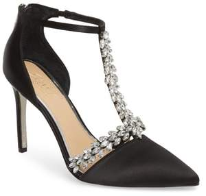 Badgley Mischka Meena Crystal Embellished T-Strap Pump