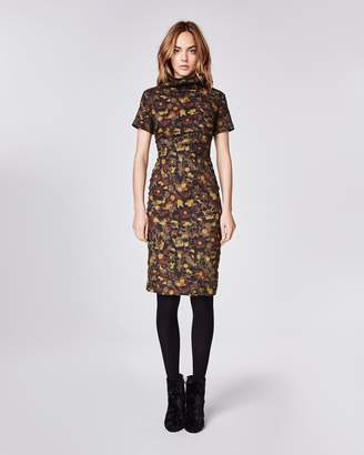 Nicole Miller Flower Camo High Neck Dress