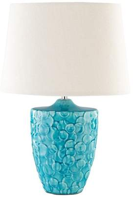 Surya ThistleWood Table Lamp by Surya, Teal/Ivory Shade