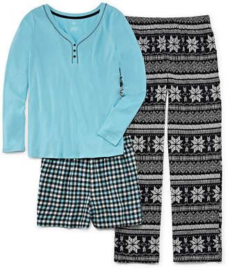 SLEEP CHIC Sleep Chic 3-pc. Pant with Short Pajama Set