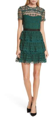 Self-Portrait Tiered Guipure Lace Minidress