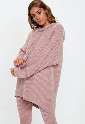Missguided Pink Ribbed Knit Co Ord Hoodie Sweater