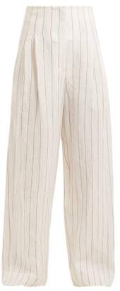 Brunello Cucinelli High Rise Pinstriped Linen Blend Trousers - Womens - Ivory Multi
