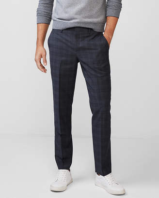 Express Slim Plaid Wool-Blend Dress Pant