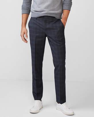 Express Slim Plaid Wool-Blend Dress Pant