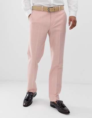 Asos Design DESIGN wedding slim suit pants in pink wool blend check