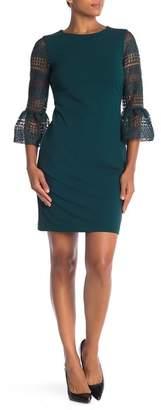 Donna Ricco Crocheted Bell Sleeve Sheath Dress