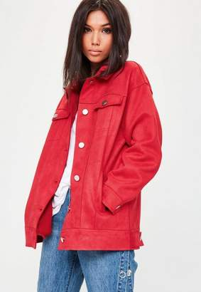 Missguided Red Oversized Bonded Suede Trucker, Red