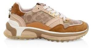 Coach Logo Leather & Suede Chunky Sneakers