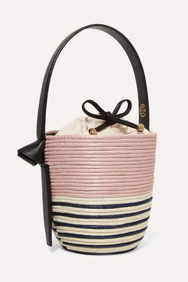 Cesta Collective - Lunchpail Leather-trimmed Woven Sisal Bucket Bag - Blush