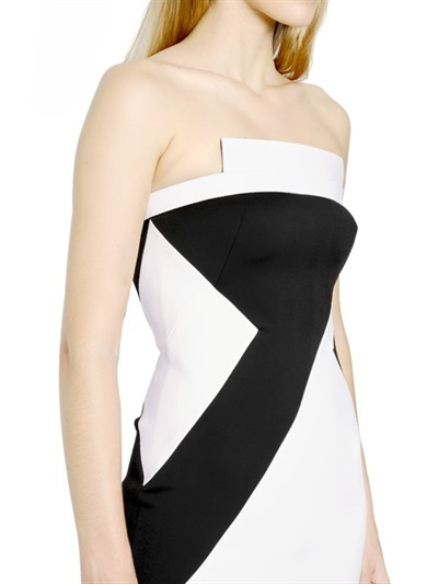David Koma Leather & Neoprene Jersey Bustier Dress