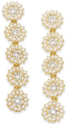 INC International Concepts I.n.c. Gold-Tone Crystal & Imitation Pearl Flower Linear Drop Earrings