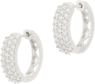Affinity Diamond Jewelry Affinity Diamond 14K Gold Huggie Hoop Earrings, 1.00 cttw