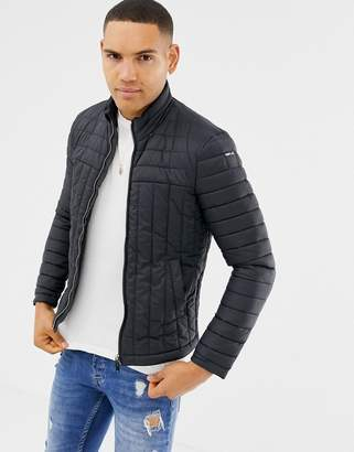 Replay midweight quilted jacket in black