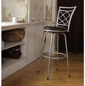 Roundhill Furniture Roundhill Halfy Round Seat Bar/Counter Height Adjustable Metal Silver Bar Stool