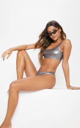 PrettyLittleThing Gunmetal Metallic Scoop Neck Bikini Top