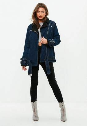 Missguided Borg Lined Denim Aviator Jacket