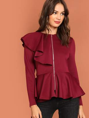 Shein Flounce Detail Zip Up Peplum Jacket