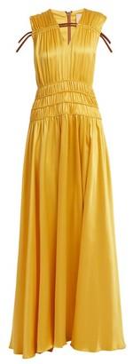 Roksanda Brona Gathered Rope Detail Silk Satin Gown - Womens - Yellow