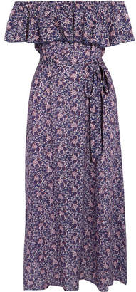 Eberjey - Moon Flowers Florence Off-the-shoulder Voile Midi Dress - Blue $220 thestylecure.com
