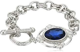 1928 Jewelry Silver-Tone Oval Stone Toggle Link Charm Bracelet