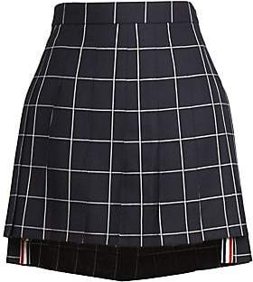 Thom Browne Women's High-Low Pleated Check Wool Skirt