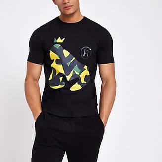 River Island Money Clothing black camo print T-shirt
