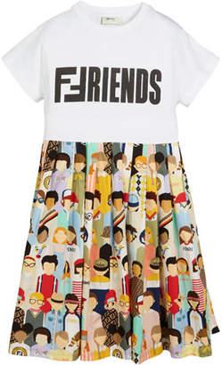 Fendi Friends-Print Accordion-Pleated Dress, Size 10-14