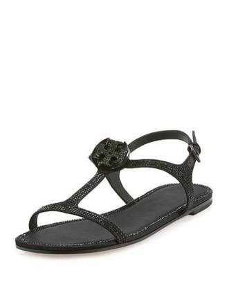 Tory Burch Dephine Crystal Logo Flat Sandal $295 thestylecure.com