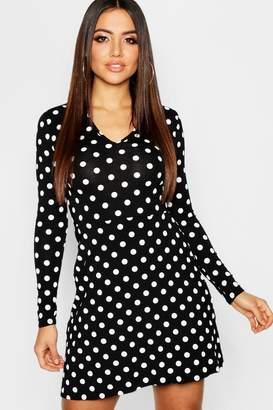 boohoo Polka Dot V-Neck Long Sleeve Skater Dress