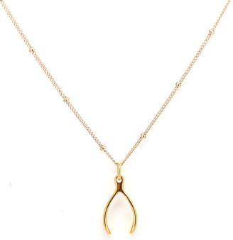 Rachael Ryen - Gold Wishbone Satellite Chain Charm Necklace $65 thestylecure.com