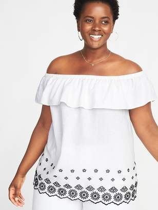 Old Navy Off-the-Shoulder Embroidered Plus-Size Linen-Blend Top