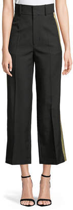 Helmut Lang Shifted Cropped Side-Stripe Canvas Tux Pants
