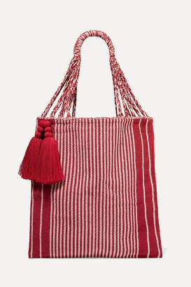 Nannacay Net Sustain Bianca Tasseled Striped Crocheted Cotton-blend Tote - Red