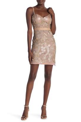 Just Me Embroidered Mesh Bodycon Dress