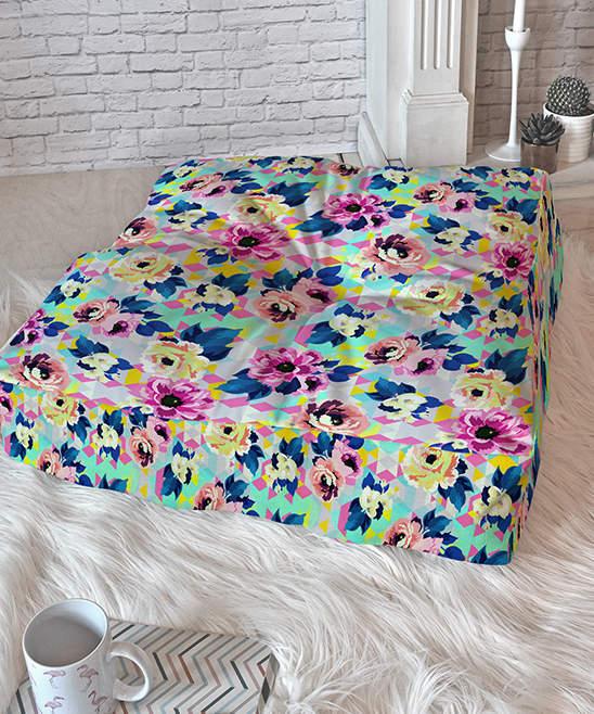 Marta Barragan Camarasa Pink Geometric Blooms Floor Pillow