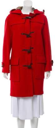 Burberry Wool House Check-Lined Toggle Coat Red Wool House Check-Lined Toggle Coat
