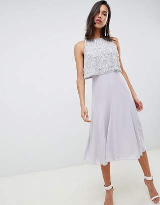 Asos Design DESIGN crop top embellished midi dress with gem droplets