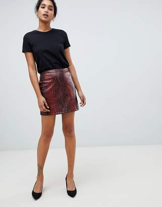 Oasis faux leather a-line mini skirt in snake