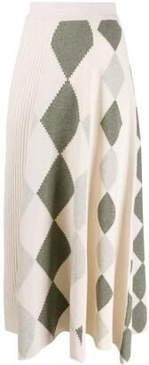Pringle graphic argyle panel skirt