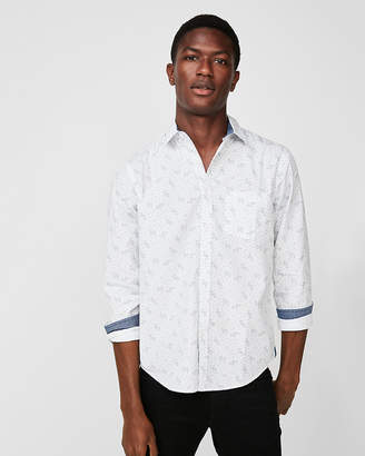 Express Slim Soft Wash Floral Button-Down Shirt