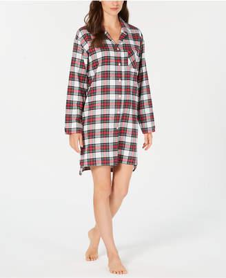 Charter Club Cotton Flannel Plaid Sleepshirt, Created for Macy's