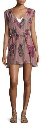 Vix Agata Feather-Print Short Coverup, Pink $168 thestylecure.com