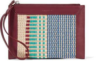 Sandro Paneled woven and leather clutch $175 thestylecure.com