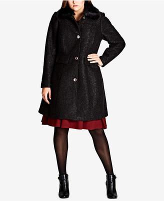 City Chic Trendy Plus Size Faux-Fur-Trim Textured Walker Coat