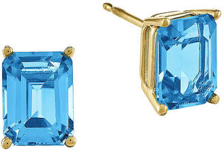 FINE JEWELRY Genuine Swiss Blue Topaz 14K Yellow Gold Emerald-Cut Earrings
