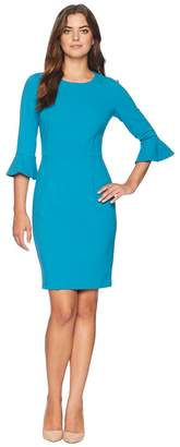 Donna Morgan 3/4 Sleeve Crepe Sheath Dress with Bell Sleeve Women's Dress