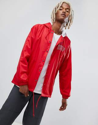 HUF Hooded Coach Jacket With Embroidered Back Logo In Red