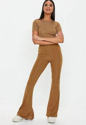 Missguided Rust Shiny Ribbed Flare Pants